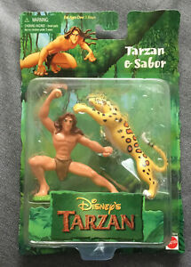 Vintage 1999 Disney Tarzan Movie Tarzan & Sabor Action Figure by Mattel NEW