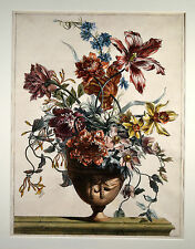 Jean Monnoyer 1678 Blumen Bouquet Flowers in Vase Original Engraving 54x42cm