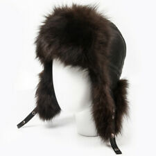 Men's Arctic Fox Fur Russian Ushanka Winter Hat in Brown Ear Flap SIZE M (56-58)