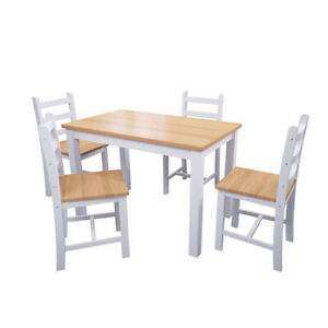 Solid Wooden Dining Table with 4 Chairs Set
