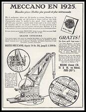 PUBLICITE  MECCANO JEU DE CONSTRUCTION JOUET ANCIEN OLD TOY   AD  1925 - 2H