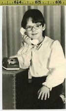 Vintage 1960's photo / Little Nerd Girl Talks to the Dead on Her Haunted Phone