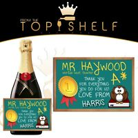 personalised best number 1 thank you school teacher wine prosecco bottle label
