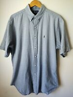 Ralph Lauren Blaire Blue Gray Checked Button Down S/S Shirt Mens Large FADED