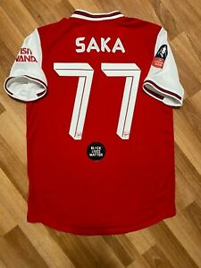 2019 2020 Arsenal Match Player Issue Home Red Jersey BUKAYO SAKA FA CUP England