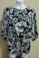 Michael Kors Women's Black White Floral Print Peplum Blouse Top Size S