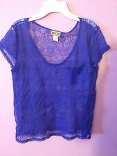 Mudd Violet Cut Out Short Sleeve T-shirt Juniors Size XL
