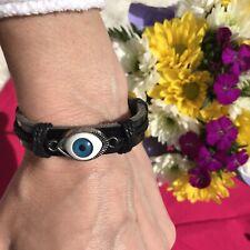 Bracelet Black Leather Silver Evil Eye Adjustable