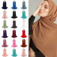 1X 39colors Women Plain Bubble Chiffon Hijab Islamic Muslim Turban Scarf Shawls
