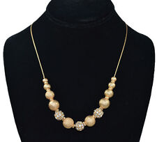 """New ICED Gold color Rhinestone crystal ball & 1mm/ 8"""" ~ 52"""" Adjustable Necklace"""