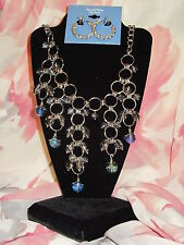 SIMPLY VERA WANG NWT $62 women's necklace earrings silver clear blue stones
