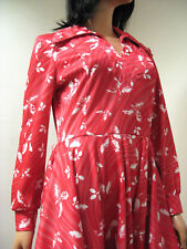 Vintage 70s Darl Pink White Leaf Print Swirled Circle Skirt Secretary Dress M