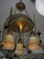 As Found Antique 3 Drop Hub Cap Light Fixture w/Orange Rope & Tassel Shades 5610