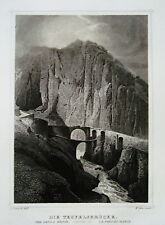 Teufelsbrücke Canton Uri   Schweiz  echter alter Stahlstich 1850