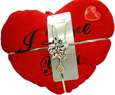 Toc Love Necklace & Red Heart Cushion Love You Valentines Day Gift Set for Her