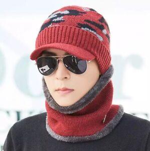 Men Winter Warm Beanie Hat Knit Visor Fleece Lined Cap Soft With Scarf UK