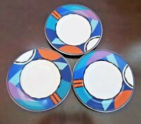 Rare Hard to Find Pattern Block Acoustic Dinnerware Multicolor  B&B Plates x3