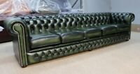 CHESTERFIELD TUFTED BUTTONED 5 SEATER SOFA COUCH REAL VINTAGE GREEN LEATHER DBB