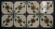 Antique Portuguese Tiles - Set of 8 Floral Yellow Flower