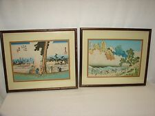 2 Antique Asian Art Oriental Watercolor Framed Print Pictures ~ signed