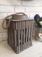 LANTERNA in legno rustico portacandele Tea light maniglia e corda Illuminazione Giardino Estivo