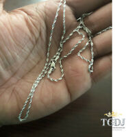 """14K SOLID WHITE GOLD Diamond Cut Rope Necklace Chain 1.5mm 16-24"""" Link Women Men"""
