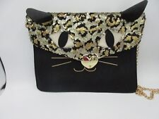 Betsey Johnson Black Sequin Kitchi Cat Clutch Crossbody Purse Leopard Black Rare