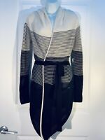 One Grey Day Los Angeles Belted Cardigan Crochet Knit Black Grey White Size: XS