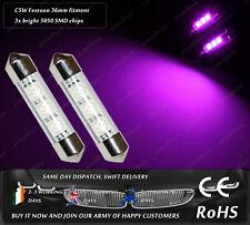LED 36mm C5W Festoon 12000k HID Purple Xenon Interior License Plate Bulbs 12v
