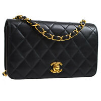 Auth CHANEL Quilted CC Single Chain Shoulder Bag Black Leather Vintage K08226e