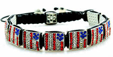 Crystal Shamballa USA American Flag Bracelet Red White Blue Military Gift NEW