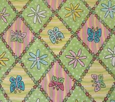Butterfly Floral Lattice by VIP Cranston BTY Pink Blue Green Yellow