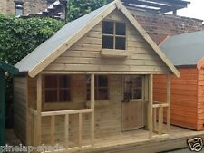 6x8 Childrens Wooden Playhouse Two Storey Kids Mini Chateau Tanalised T&G Den