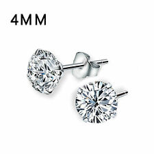 Women Genuine 925 Solid Sterling Silver Cubic Zirconia Round Stud Earrings Chic