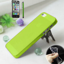 For iPhone 5 5S, Thin Crystal Clear Soft Gel Silicone Case Cover w/Protector Pen