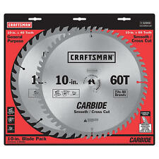 """Craftsman 32866 10"""" Blade Pack 40T and 60T Carbide Teeth Saw Blade"""