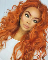 Women Curly Wavy Orange Hair Cosplay Party Long Wig Costume Wigs Heat Safe Hair