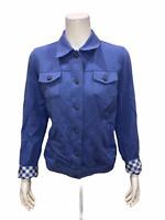 Isaac Mizrahi Womens Knit Denim Jacket with Gingham Details Blue Medium Size