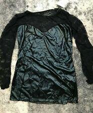 KINKY BLACK PVC WET LOOK MINI DRESS LACE FRONT & BACK INCERTS MISTRESS SIZE L UK