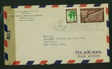 Dominican Republic 1944 Censored Airmail Puerto Plata to Ny w/ Scott C41, 389