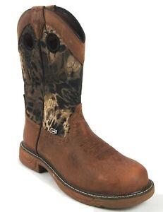 Justin Men's Wk4318 H20 Rush Stampede Waterproof Soft Toe Western Work Boot -9US