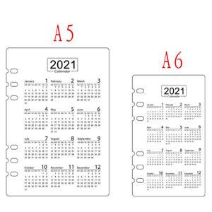 A5/A6 Size Divider Dashboard Plastic Insert Refill Organiser 2021 Canlendar Gift
