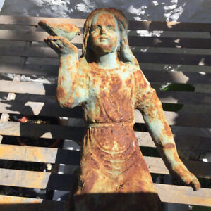 A Blue And Rusty Iron Metal Garden Fairy Kneeling And Holding A Bird Free Post