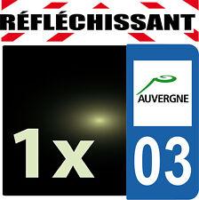 DEPARTEMENT 03 rétro-réfléchissant Plaque Auto 1 sticker autocollant reflectif