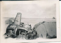 WWII 1944 GI's 41st Div 205th FA New Guinea Photo wreckage of ? at shoreline
