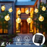 Outdoor Solar Powered 30 LED String Light Garden Patio Yard Landscape Ball Lamp