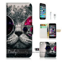 ( For iPhone 6 / 6S ) Wallet Case Cover P0379 Glass Cat