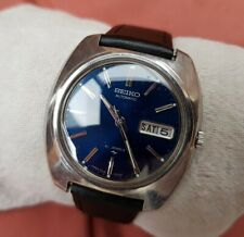 Vintage 70's Seiko Mens Watch - Blue Face - Automatic - New Strap - Working Well