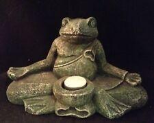 MEDITATING FROG Tea Light Candle YOGA Buddha CEMENT Garden Sculpture