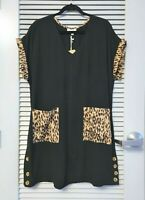 black animal print fold slev side button dress 1XL  / anthropologie earrings